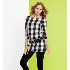 Metrostyle Buffalo Plaid Back Button Tunic